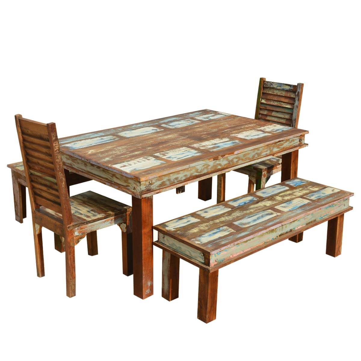Sierra reclaimed wood furniture dining table with chairs