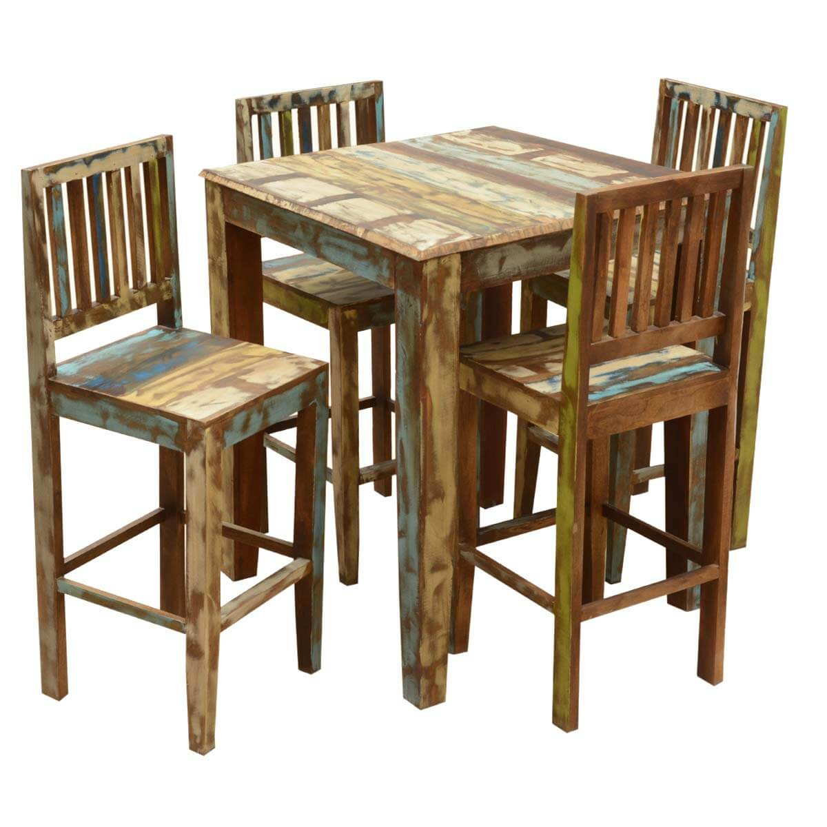 Appalachian rustic reclaimed wood high bar table chair set