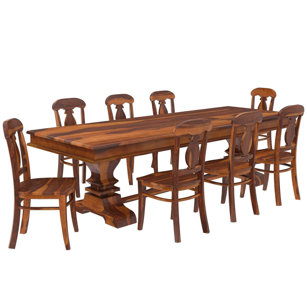 Nottingham solid wood 92 trestle dining table benches 2 for Solid wood dining table sets