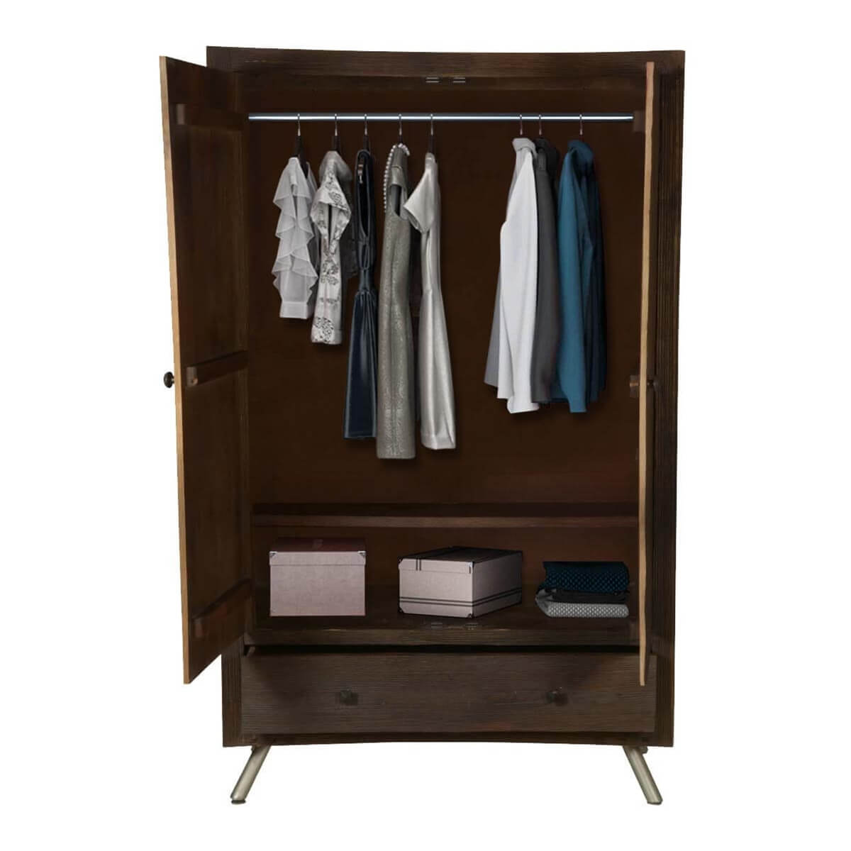 modern frontier mango wood freestanding wardrobe armoire. Black Bedroom Furniture Sets. Home Design Ideas