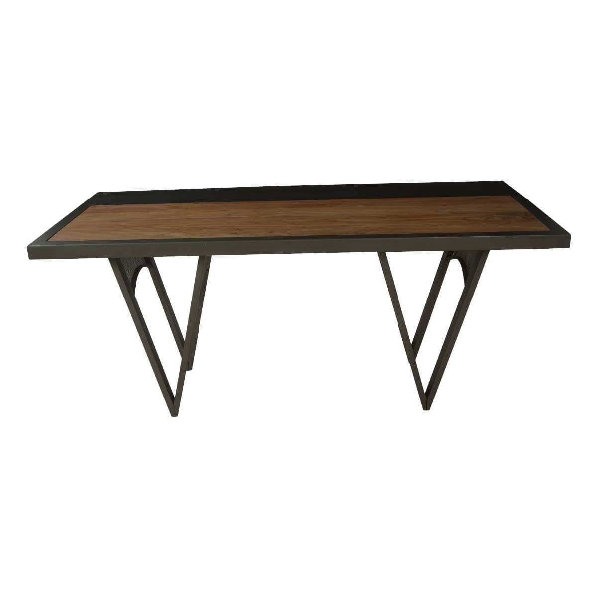 Modern industrial big w solid wood iron 71 dining table for Big modern dining table