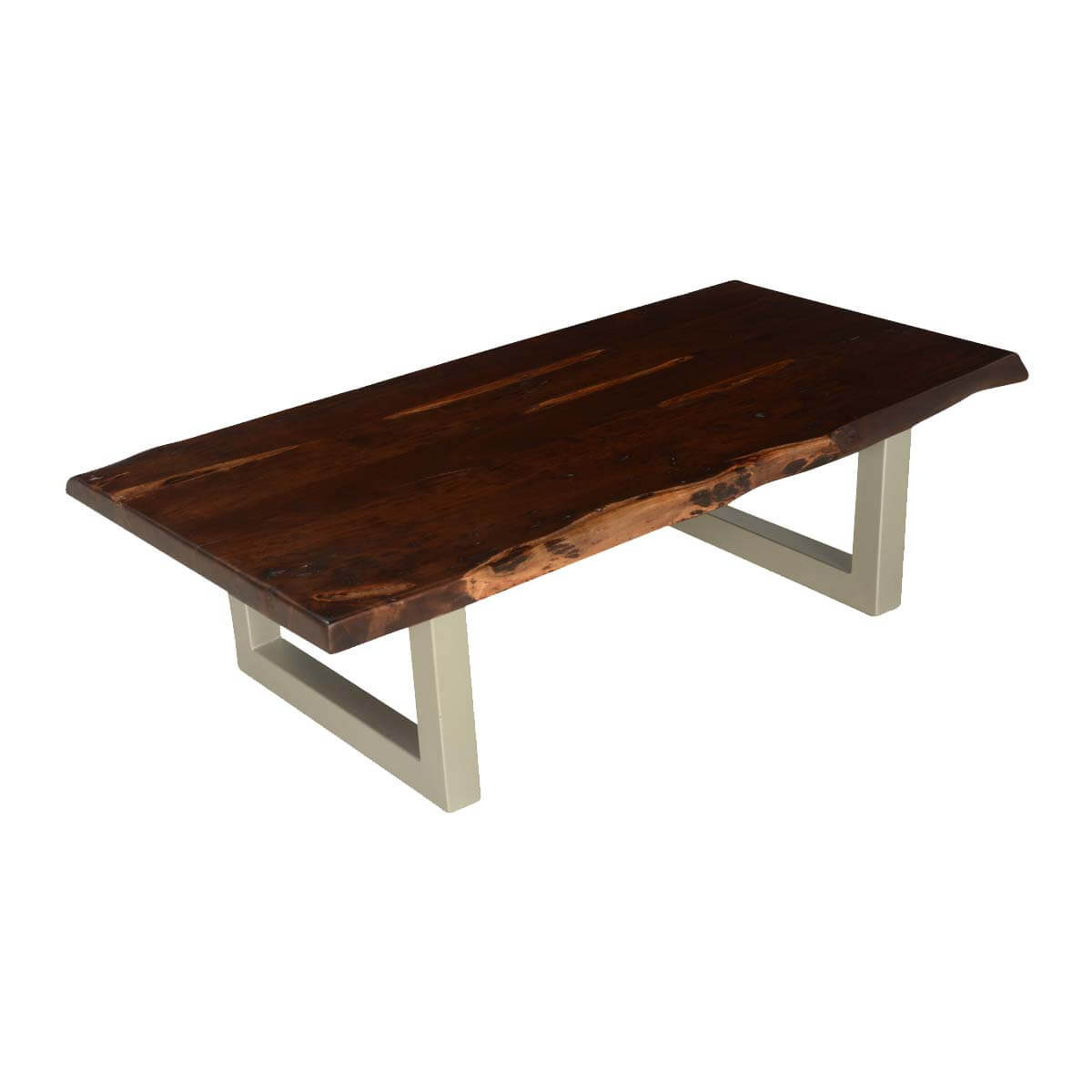 Modern frontier acacia wood iron 53 live edge coffee table Live wood coffee table