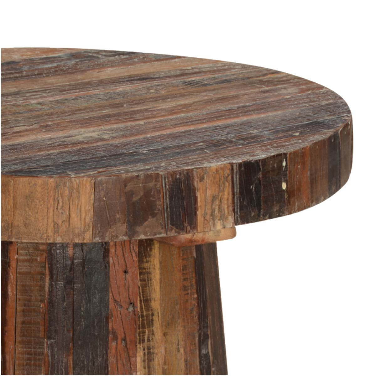 mushroom stool reclaimed wood 30 round caf dining table. Black Bedroom Furniture Sets. Home Design Ideas