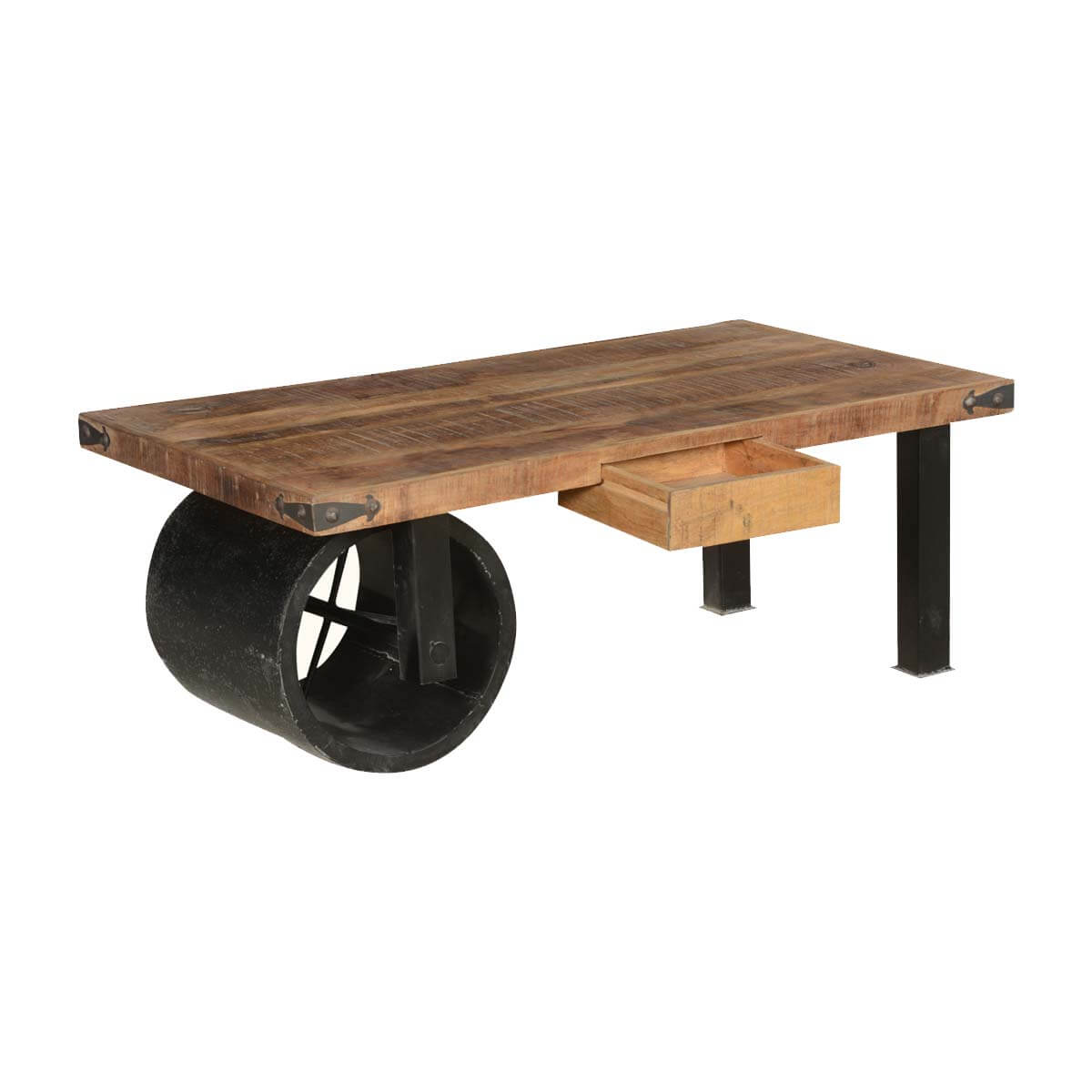 Country style wagon cart coffee table w 2 drawers for Country style table