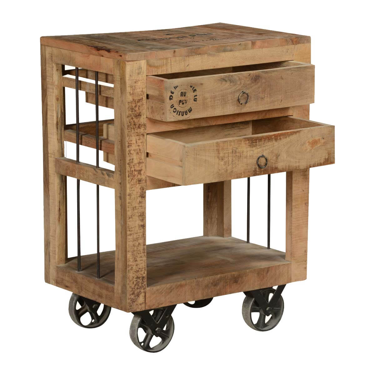 Industrial style rustic solid wood 2 drawer end table w for Rustic industrial end table