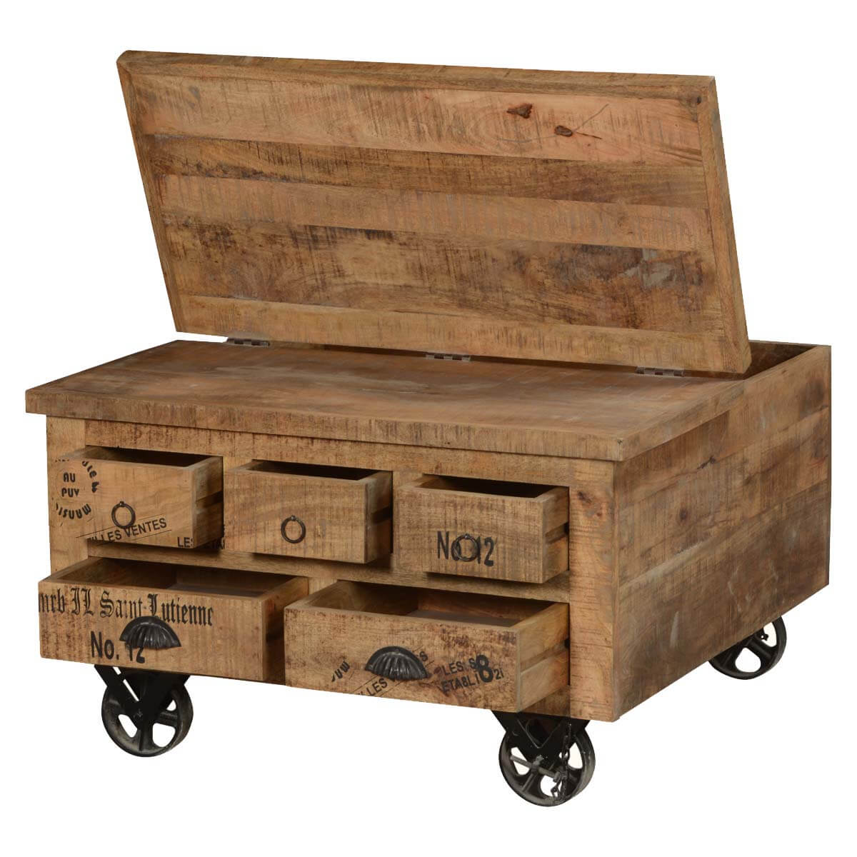 Wood Coffee Table With Drawers Large Coffee Table With: Industrial Style Solid Wood Square Storage Trunk 5 Drawer
