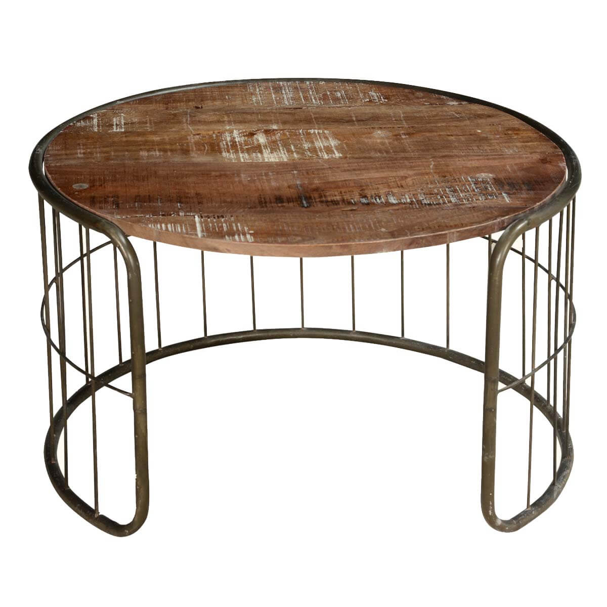 On the fence mango wood iron rustic 30 round coffee table Rustic round coffee table
