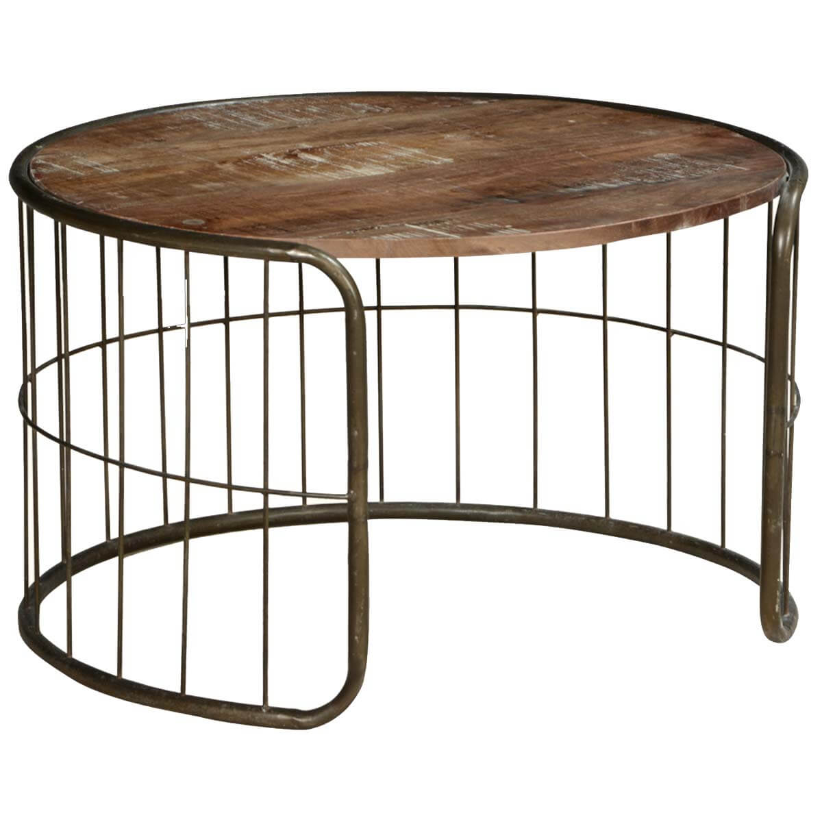 On the fence mango wood iron rustic 30 round coffee table Rustic wood and metal coffee table