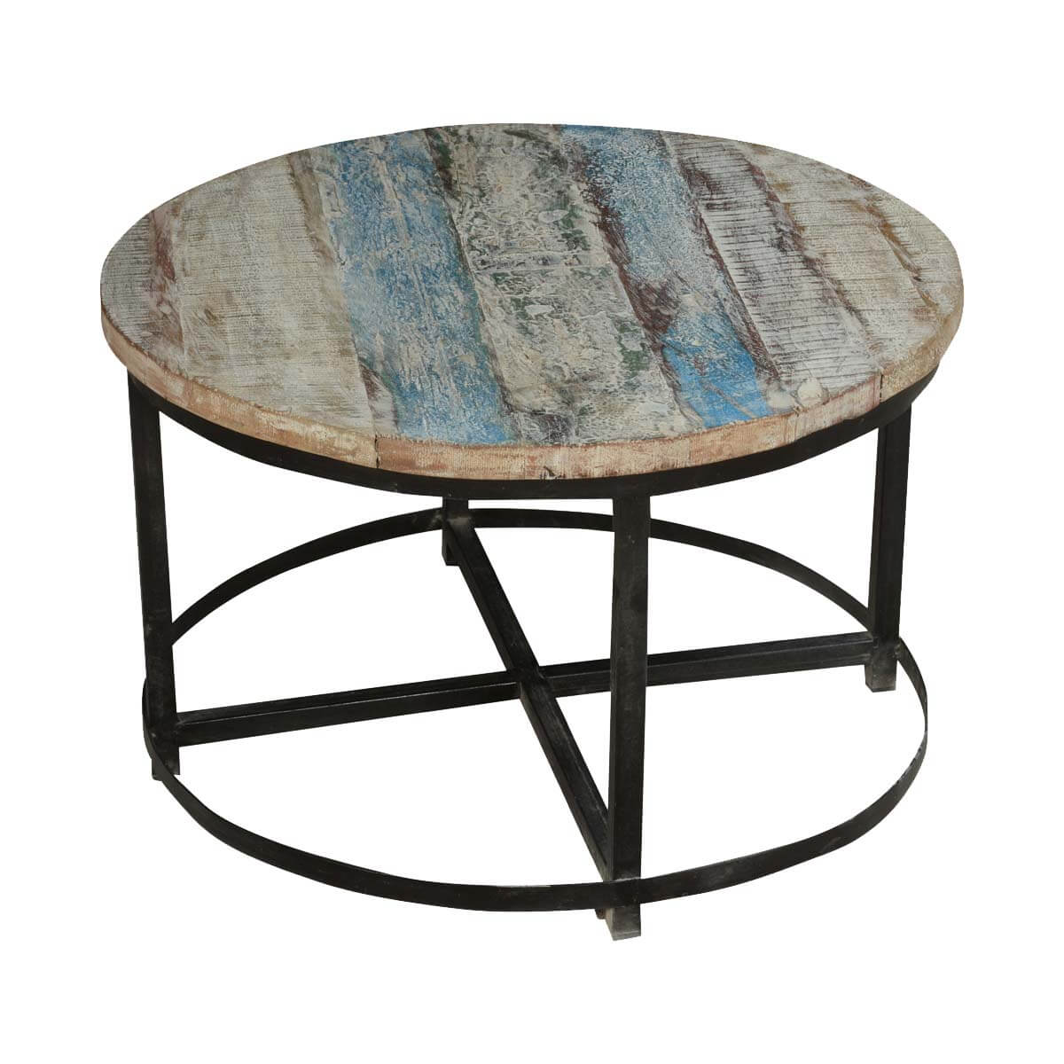 Industrial Style Round Coffee Table: Bithlo Reclaimed Wood Top Round Industrial Coffee Table