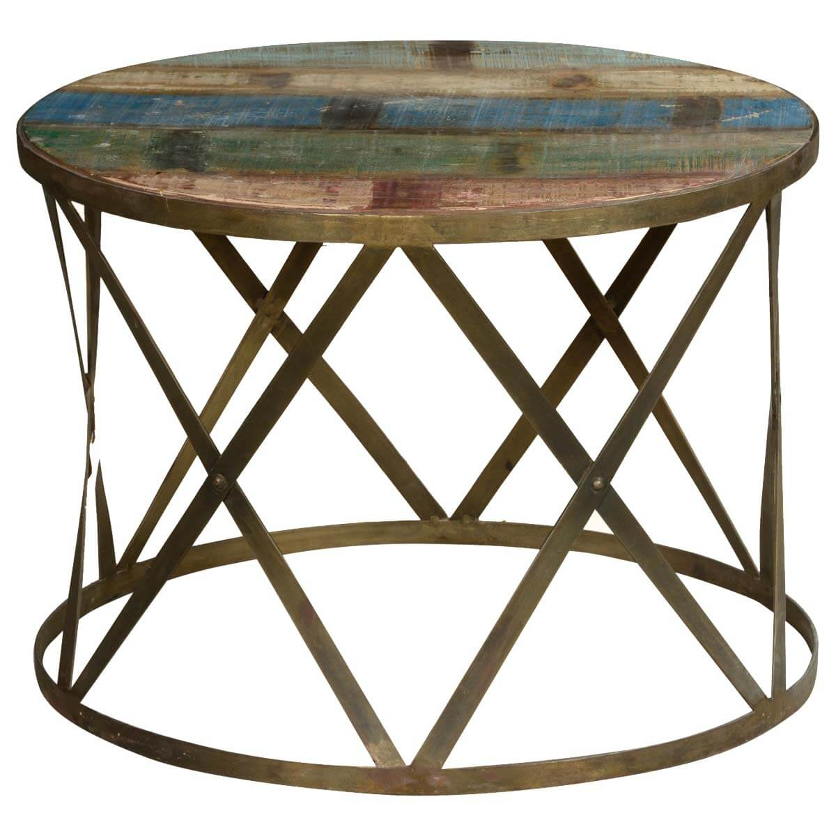 Solid Wood And Metal Coffee Table: Retro Style Solid Wood And Iron Round Industrial Coffee Table