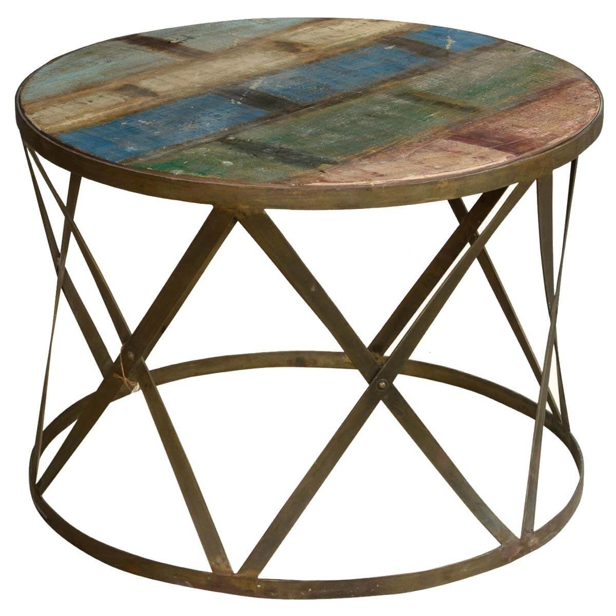 Retro Style Solid Wood And Iron Round Coffee Table