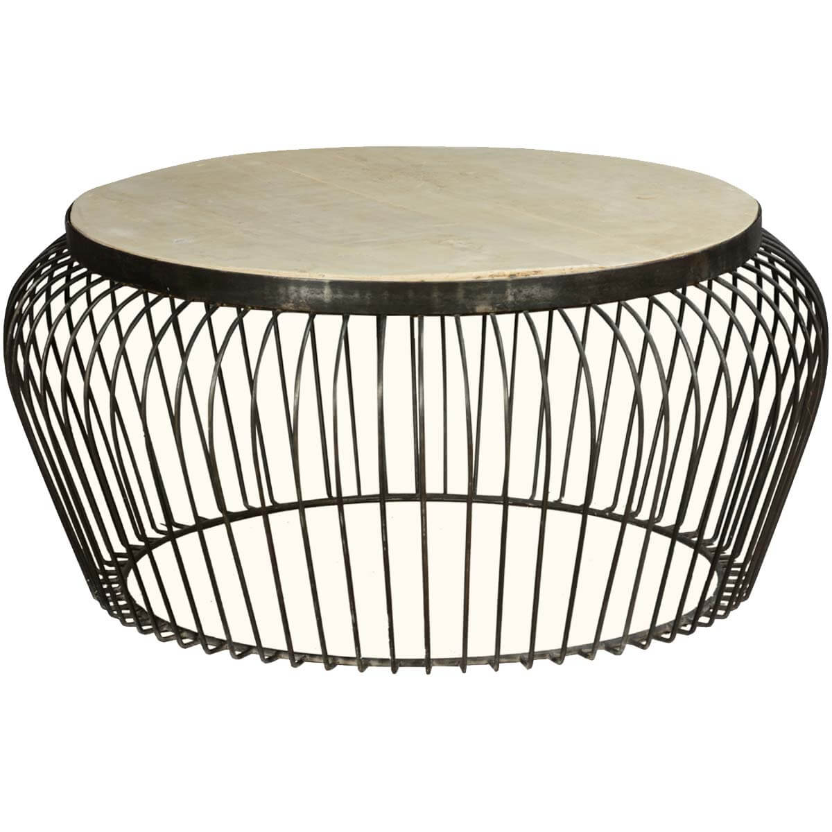 Wire basket mango wood iron 38 round coffee table for Wire round coffee table
