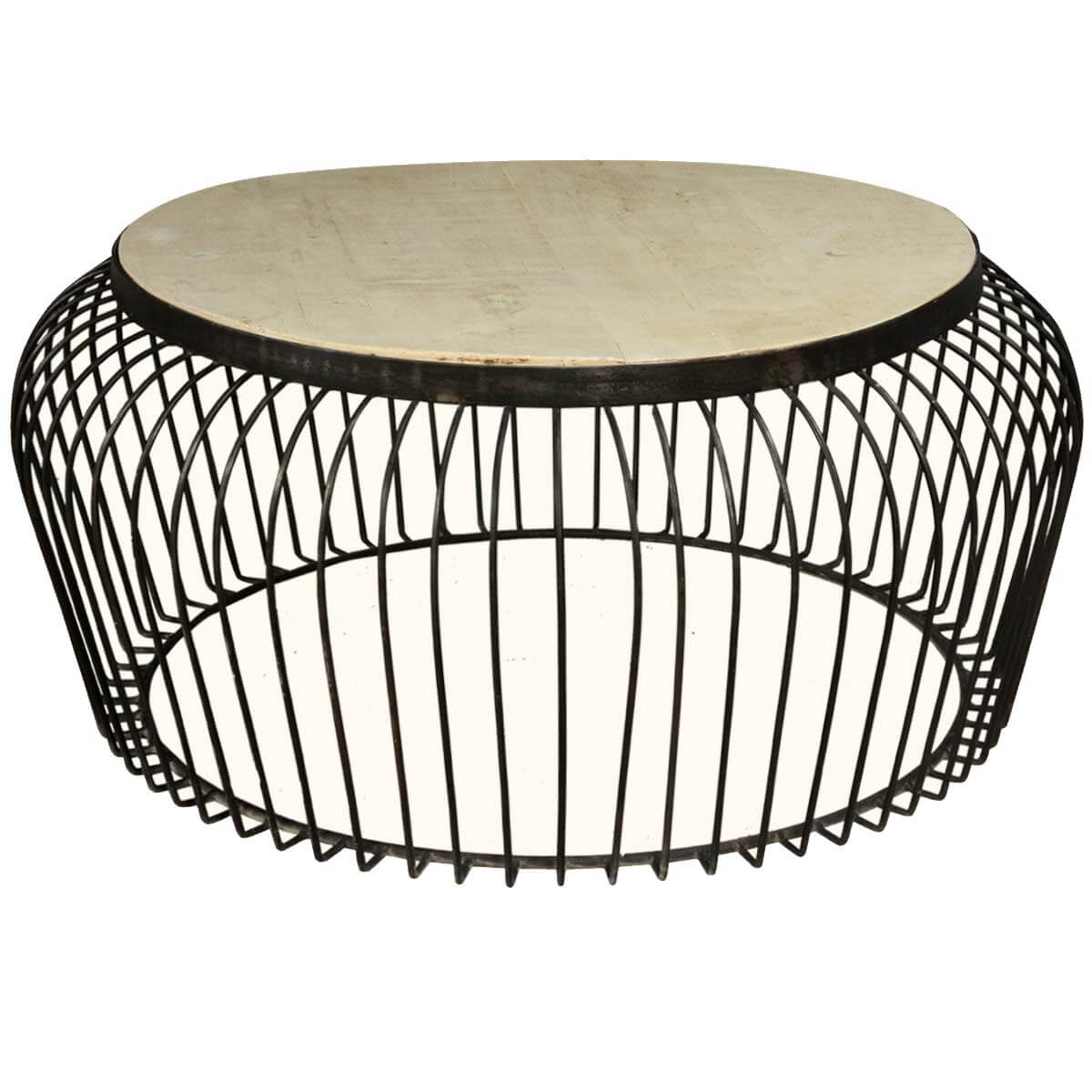 Wire basket mango wood iron 38 round coffee table Coffee table baskets