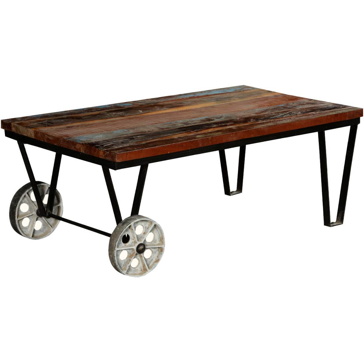 Reclaimed Mill Cart Coffee Table: Reclaimed Wood Industrial Style Factory Cart Coffee Table