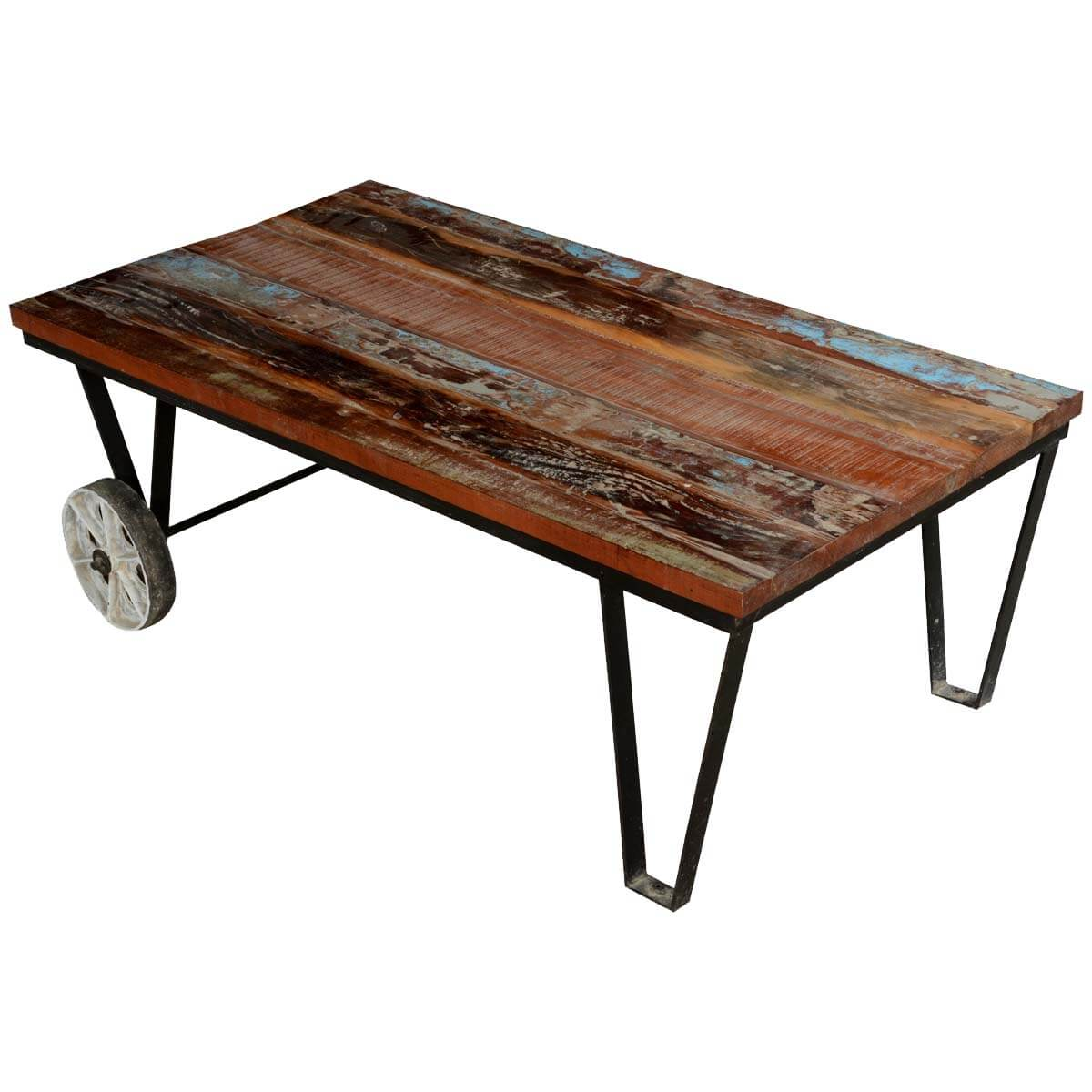 Industrial Coffee Table Images: Reclaimed Wood Industrial Style Factory Cart Coffee Table