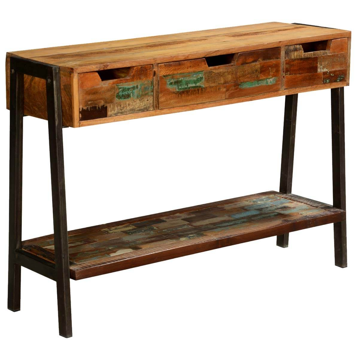 Foyer Console Questions : Painted bricks reclaimed wood iron hall console w drawers