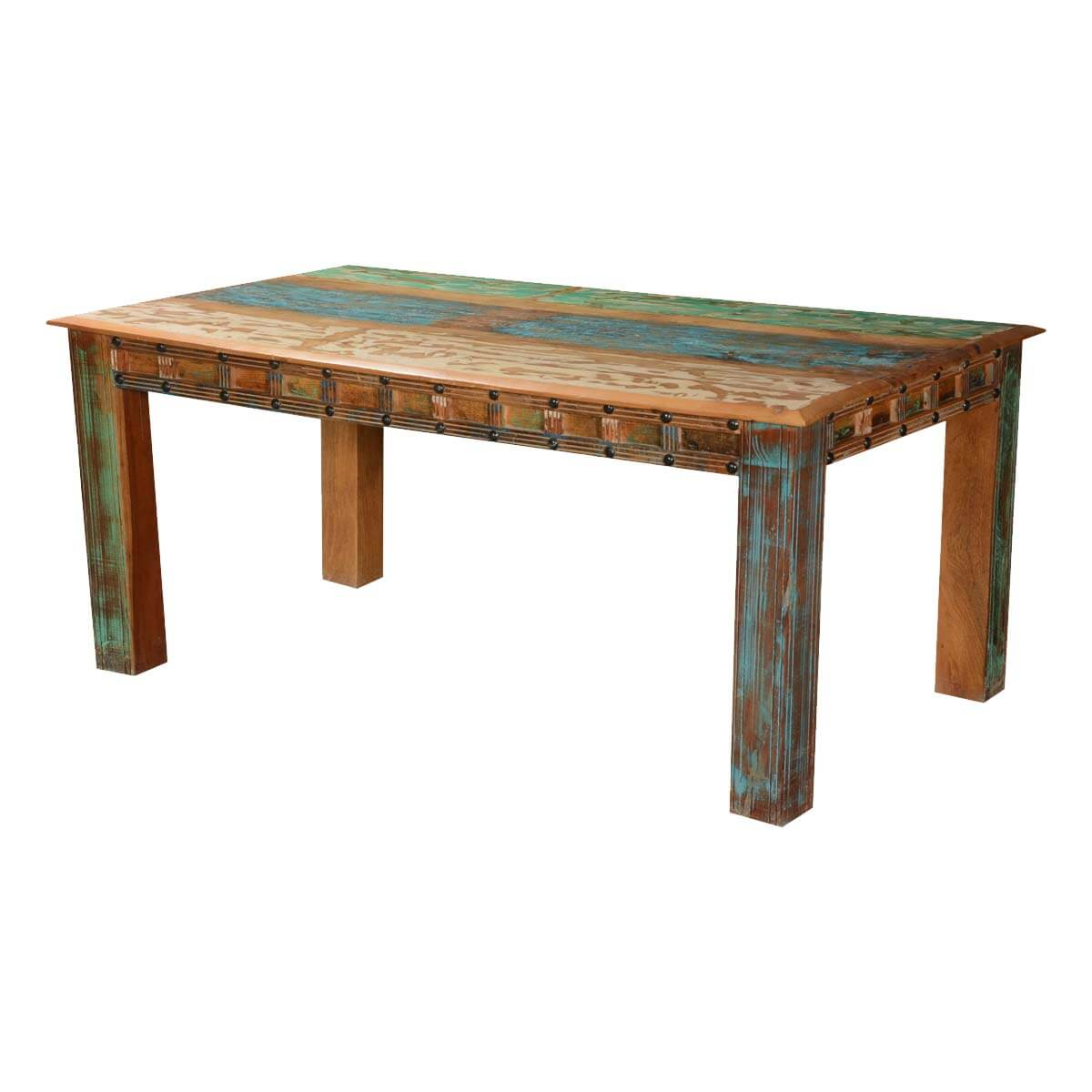 Gothic rustic rainbow reclaimed wood dining table for Reclaimed wood dining table