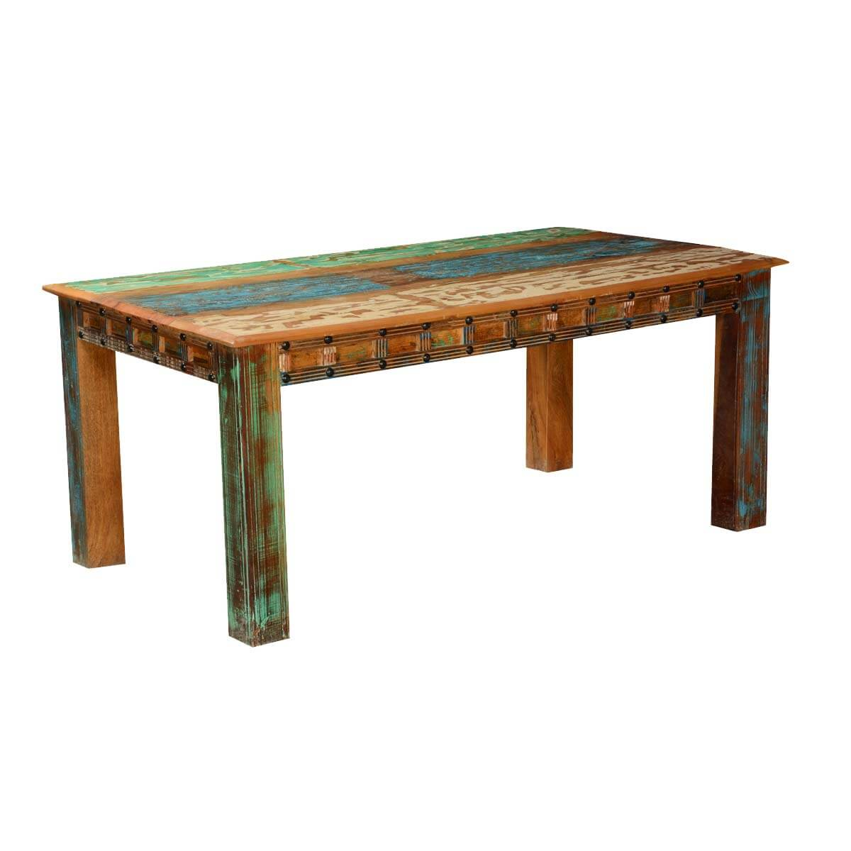 Gothic rustic rainbow reclaimed wood dining table for Hardwood dining table