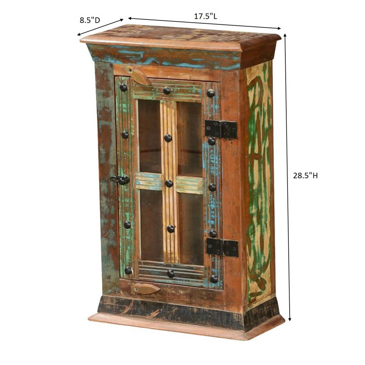 Rustic Patches Reclaimed Wood Mini Display Cabinet W Glass