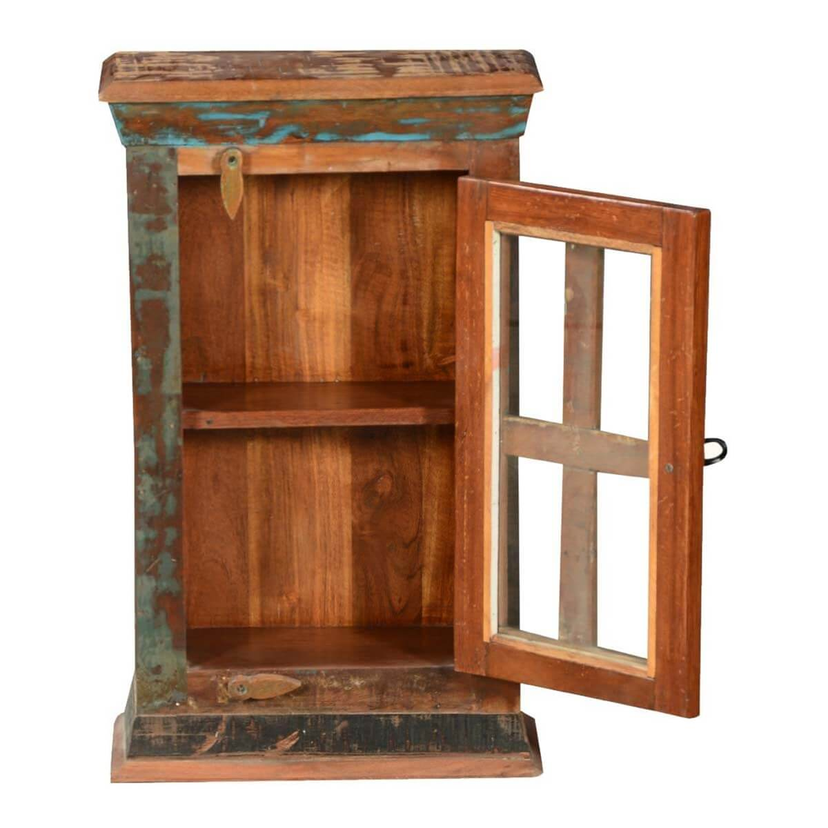 Small Glass Front Cabinet: Rustic Patches Reclaimed Wood Mini Display Cabinet W Glass