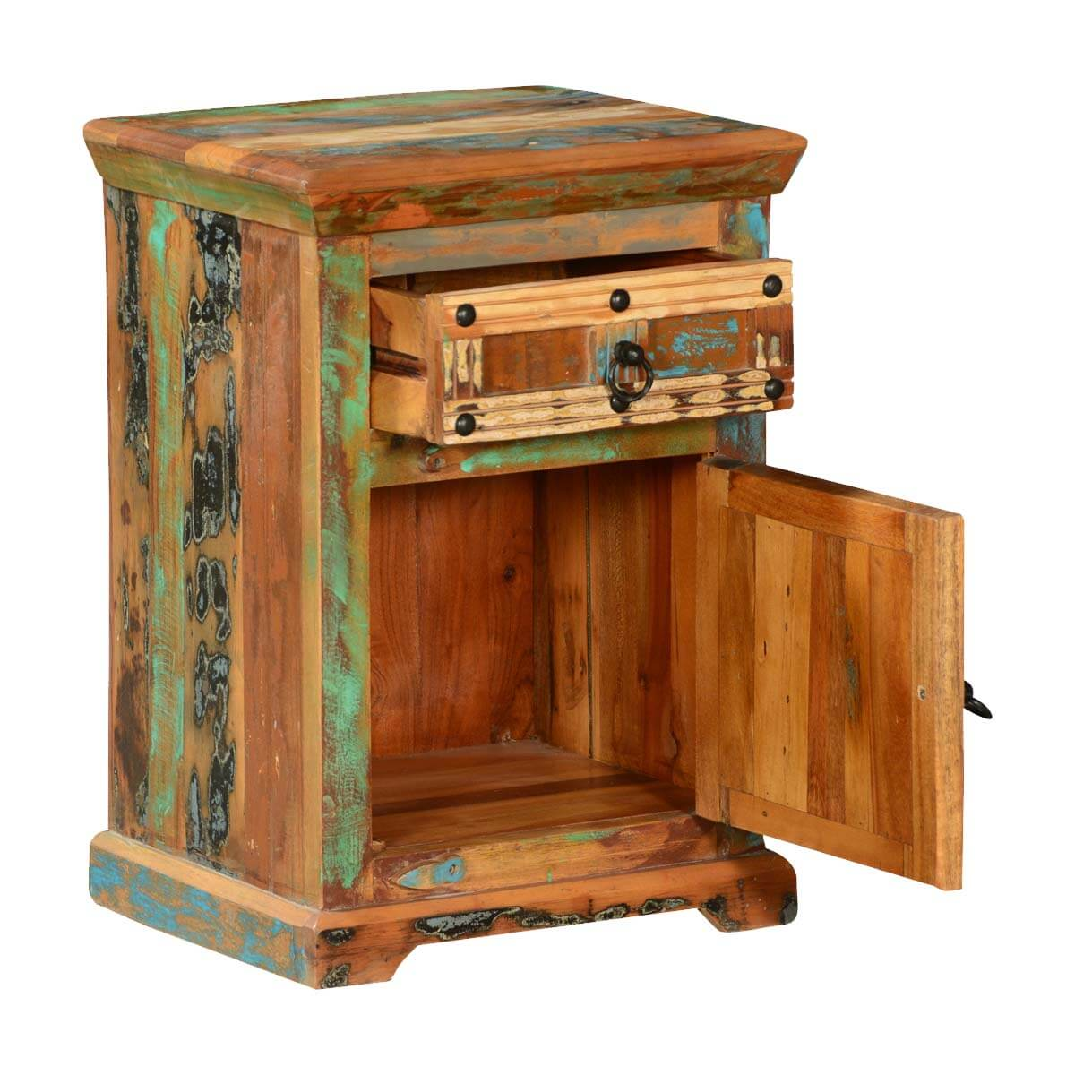 Rustic patches reclaimed wood nightstand end table cabinet for Rustic wood nightstand
