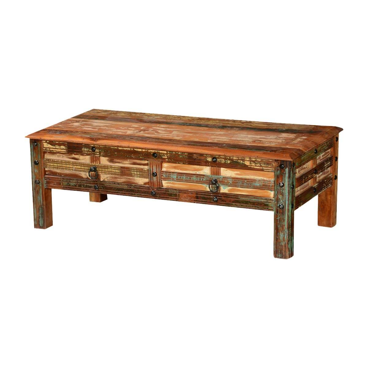 Pioneer rustic reclaimed wood 2 drawer coffee table for Reclaimed teak wood coffee table