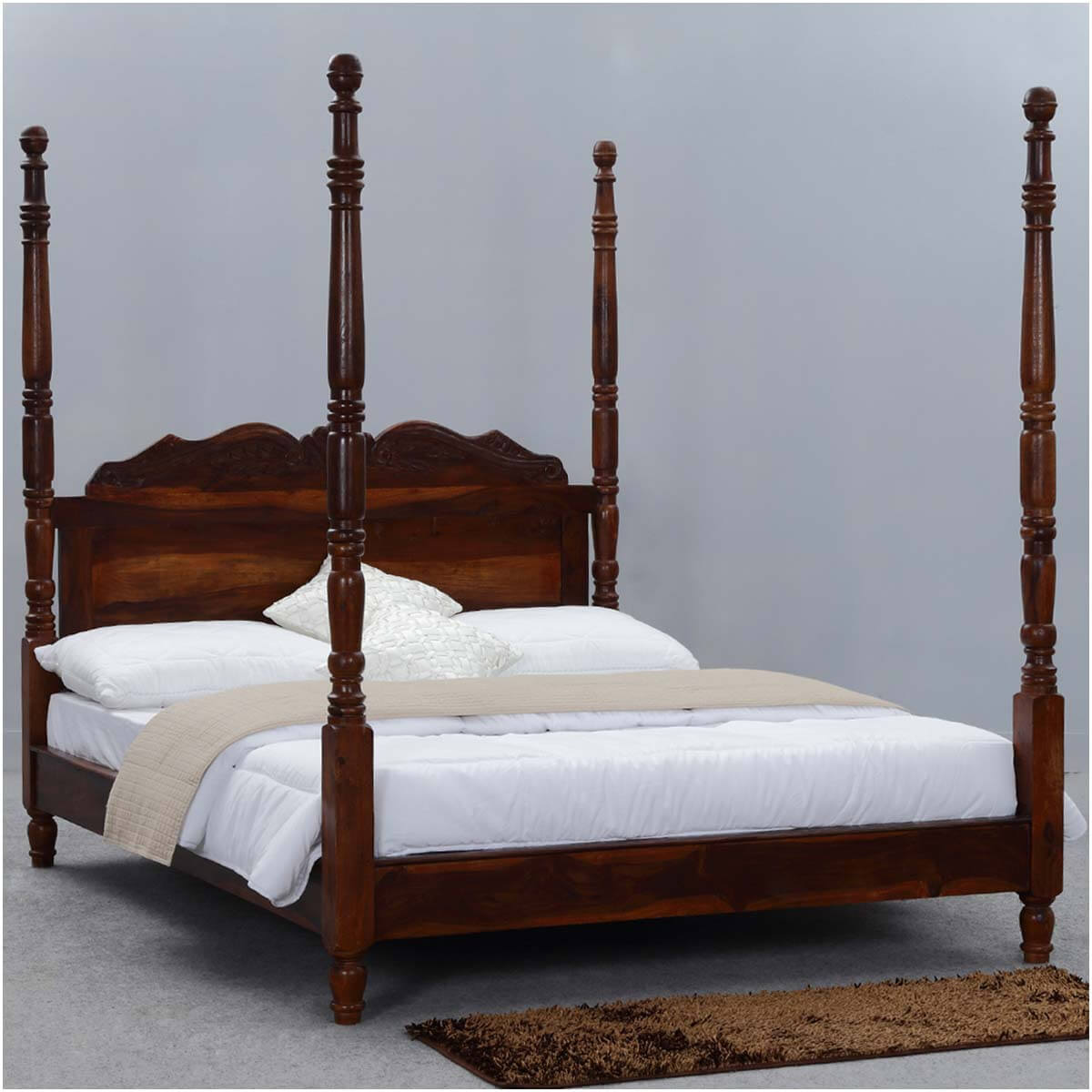 queen anne solid wood four poster platform bed frame w headboard. Black Bedroom Furniture Sets. Home Design Ideas