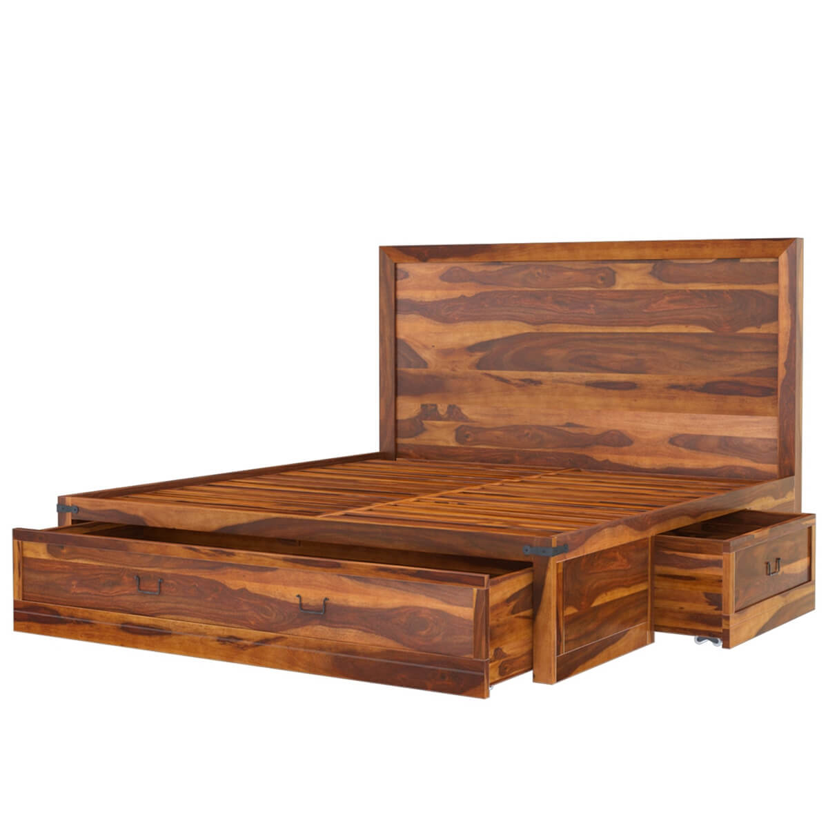 Superb img of Classic Shaker Solid Wood Platform Captain's Bed w 2 End Tables with #B28C19 color and 1200x1200 pixels