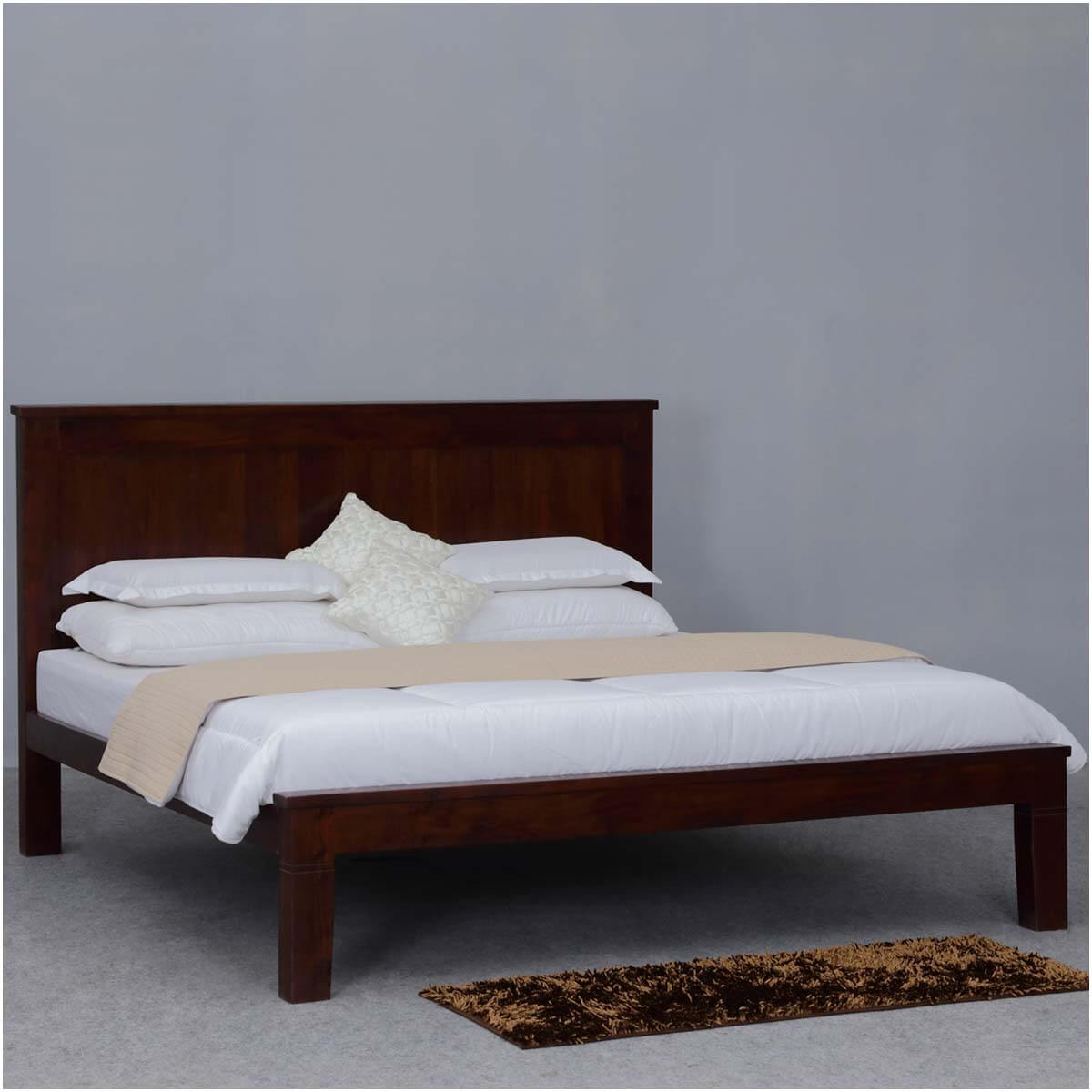 simply mission acacia wood king size platform bed w headboard. Black Bedroom Furniture Sets. Home Design Ideas