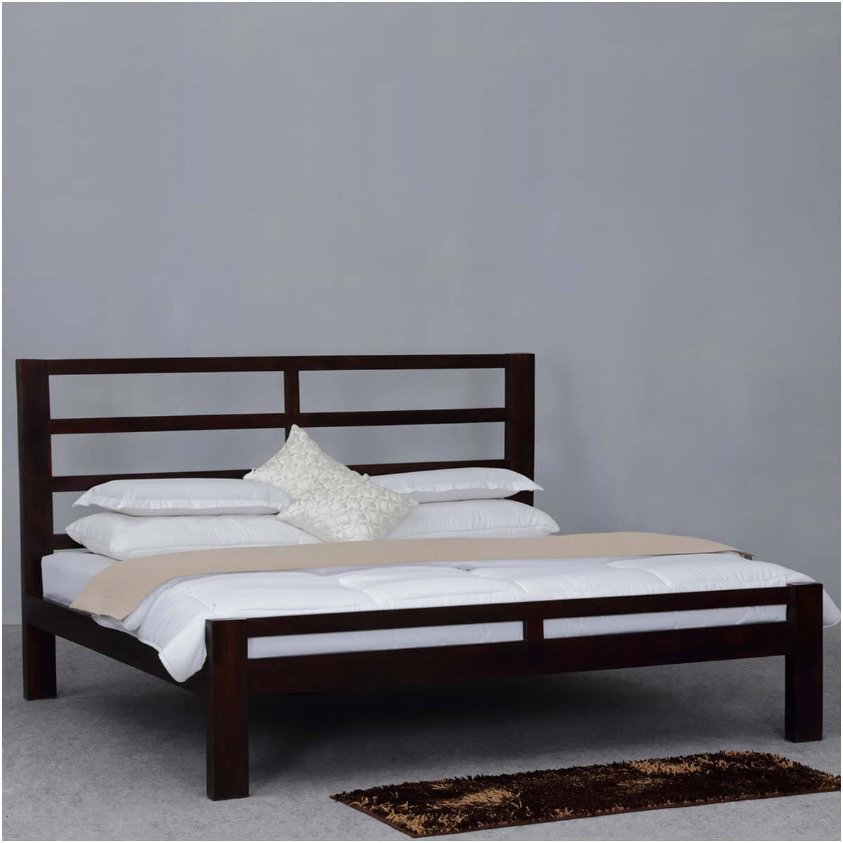 arrivals modern rustic open design solid wood platform bed w headboard
