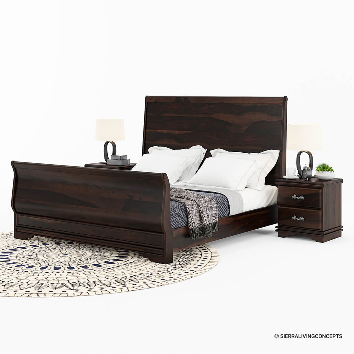 Sleigh back solid wood platform bed frame Wood platform bed