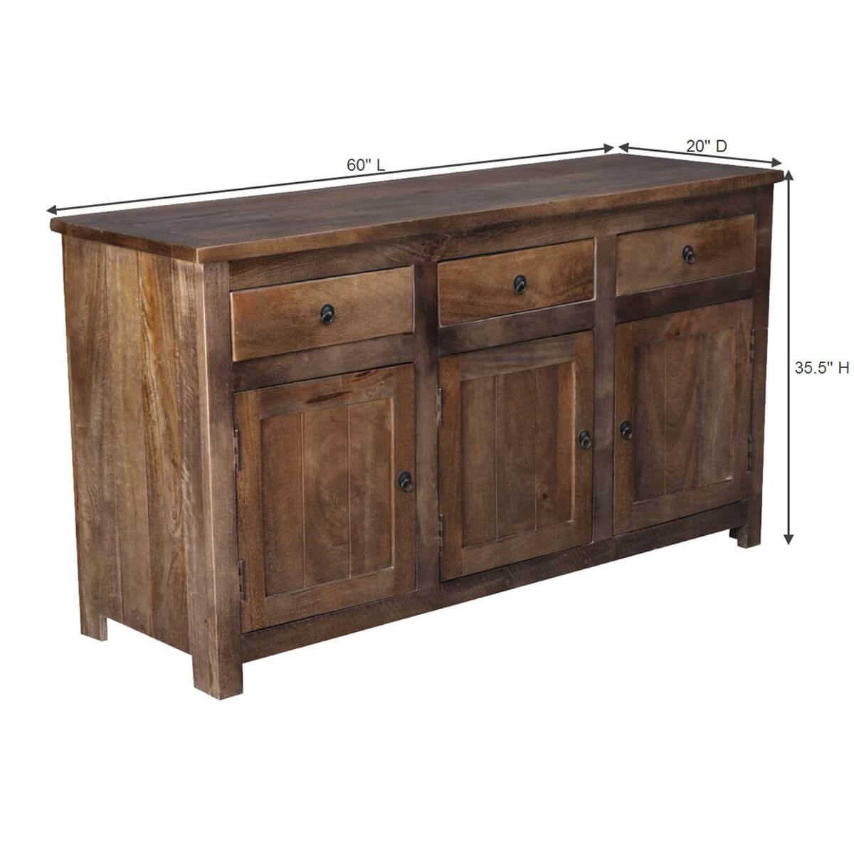 Unfinished Wood Sideboard ~ Willshire solid wood drawer rustic sideboard cabinet