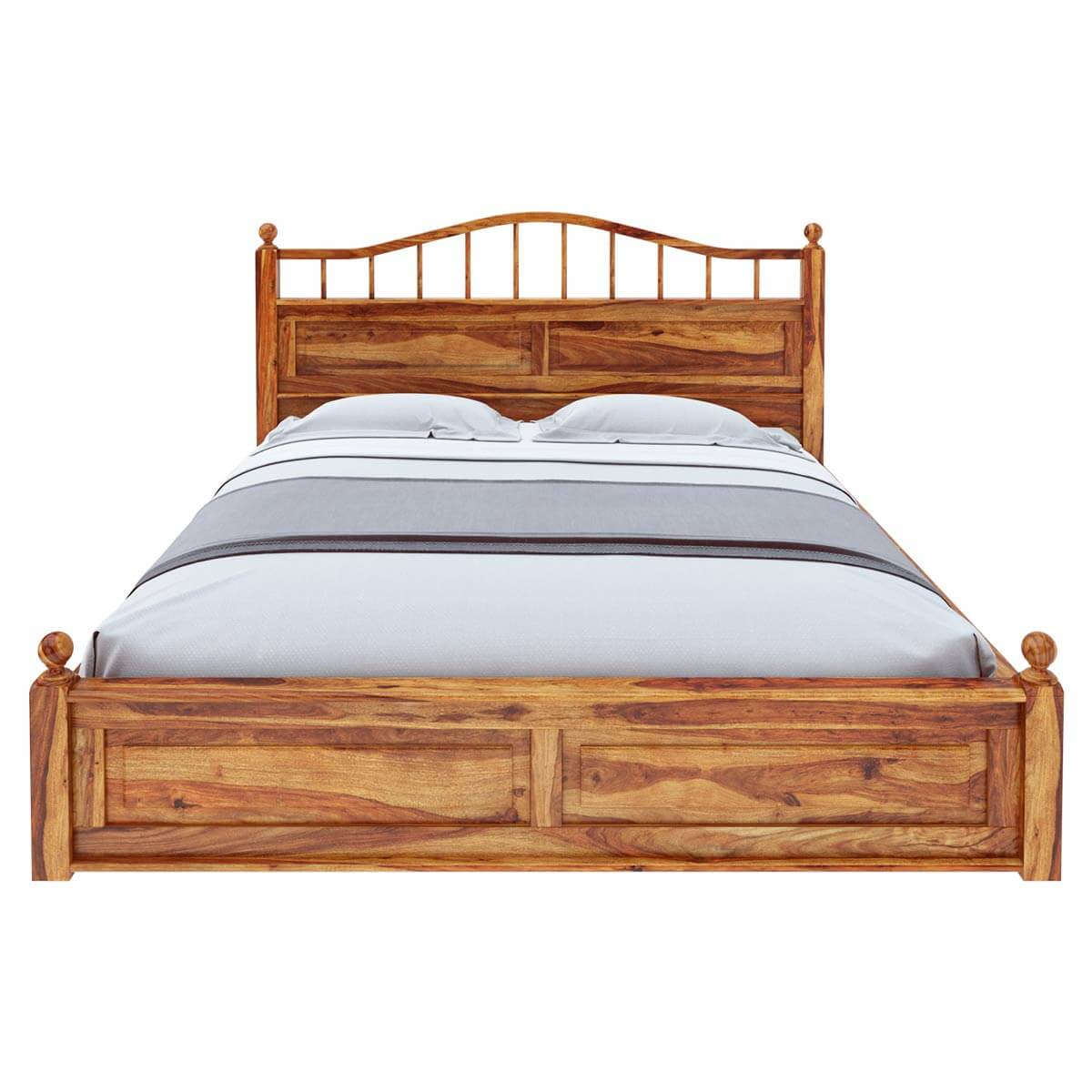Colonial Rail Top Solid Wood Full Size Platform Bed Frame