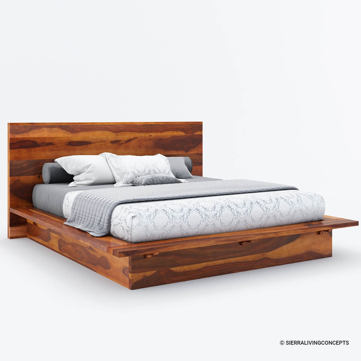california king size solid wood platform bed frame. Black Bedroom Furniture Sets. Home Design Ideas