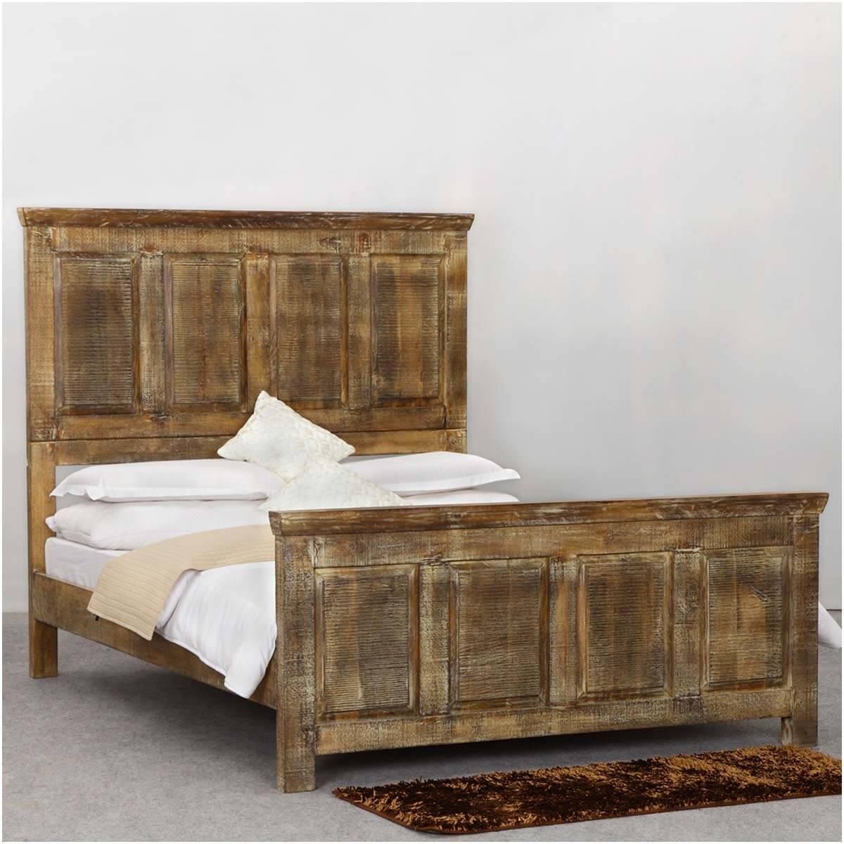 mission golden rustic wood platform bed w footboard high headboard. Black Bedroom Furniture Sets. Home Design Ideas