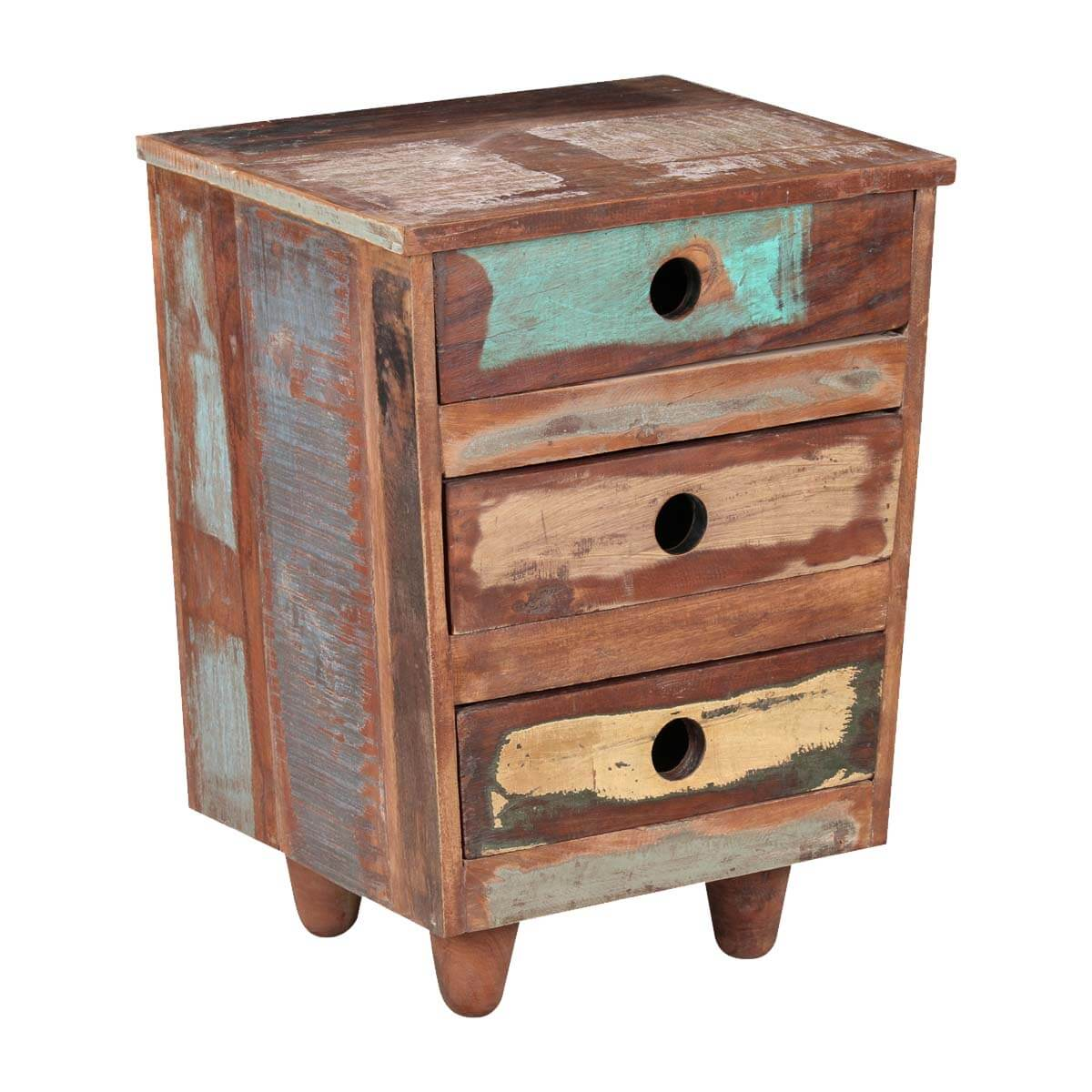 Sedona three drawer reclaimed wood rustic end table for Rustic wood accent tables