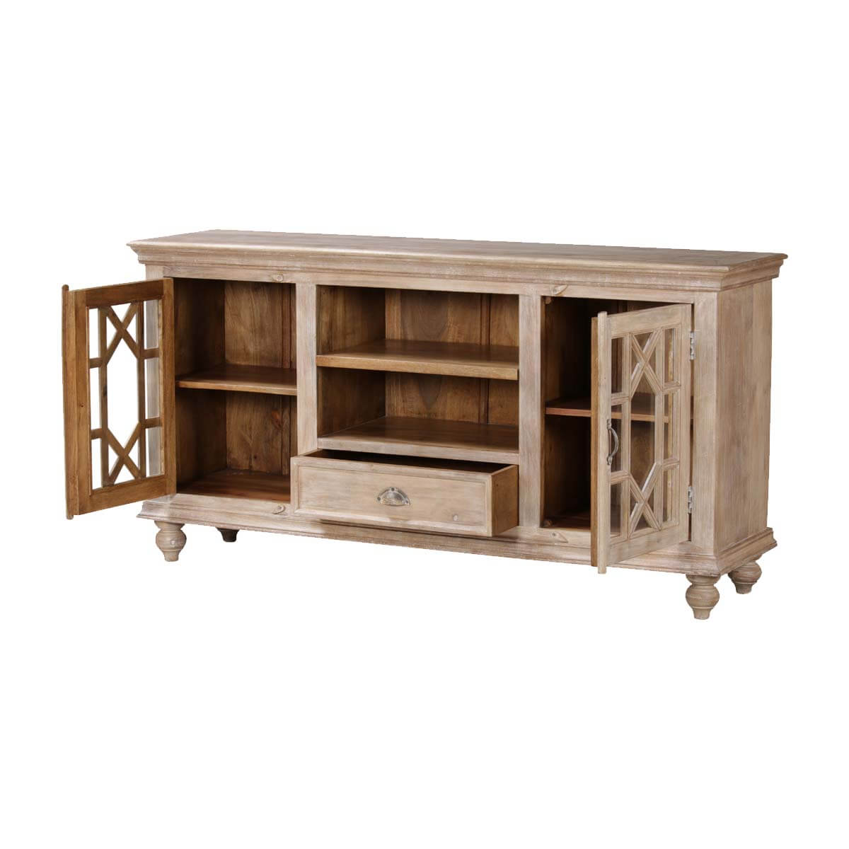 la rochelle ornate grille solid wood media cabinet