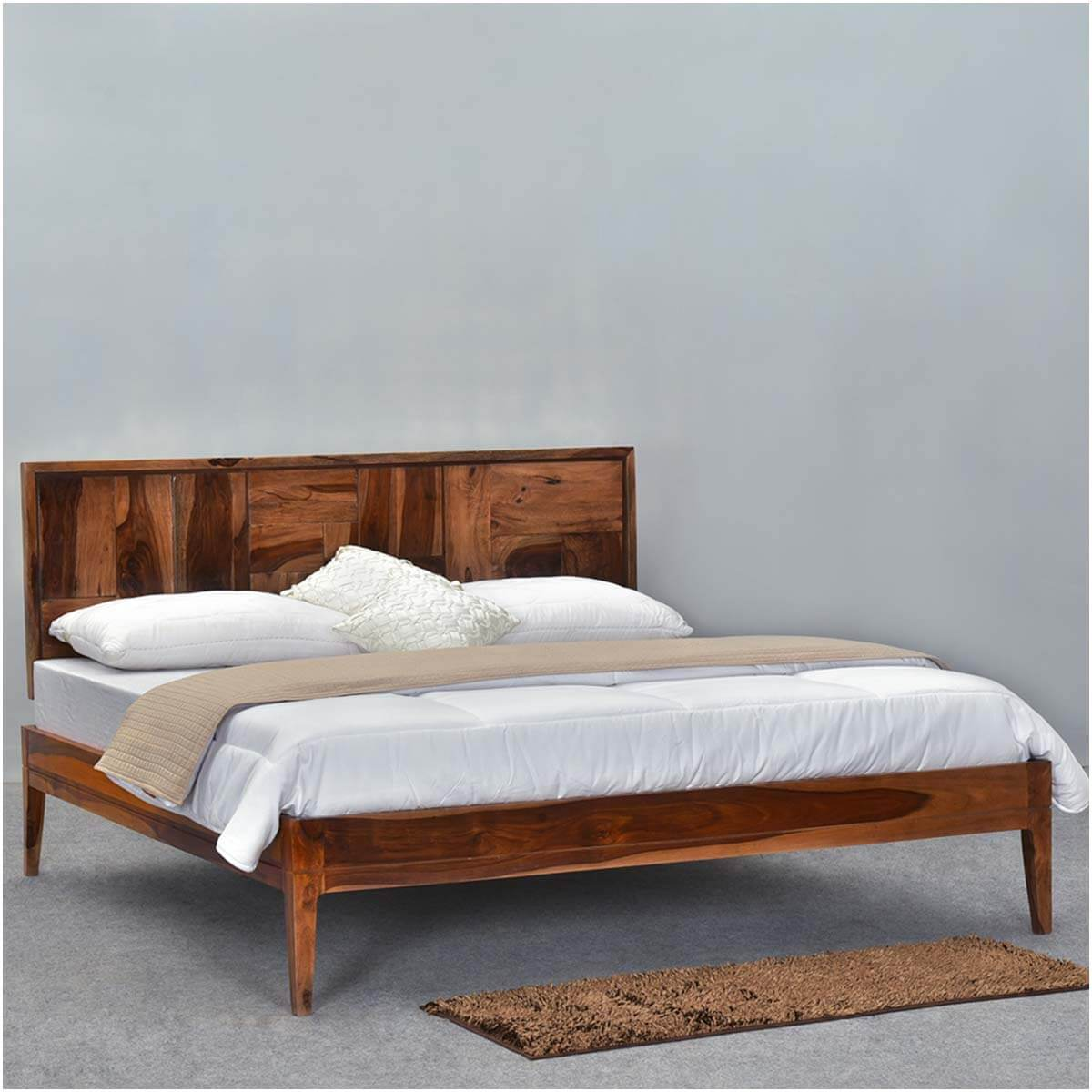 sunrise modern pioneer solid wood platform bed frame w headboard
