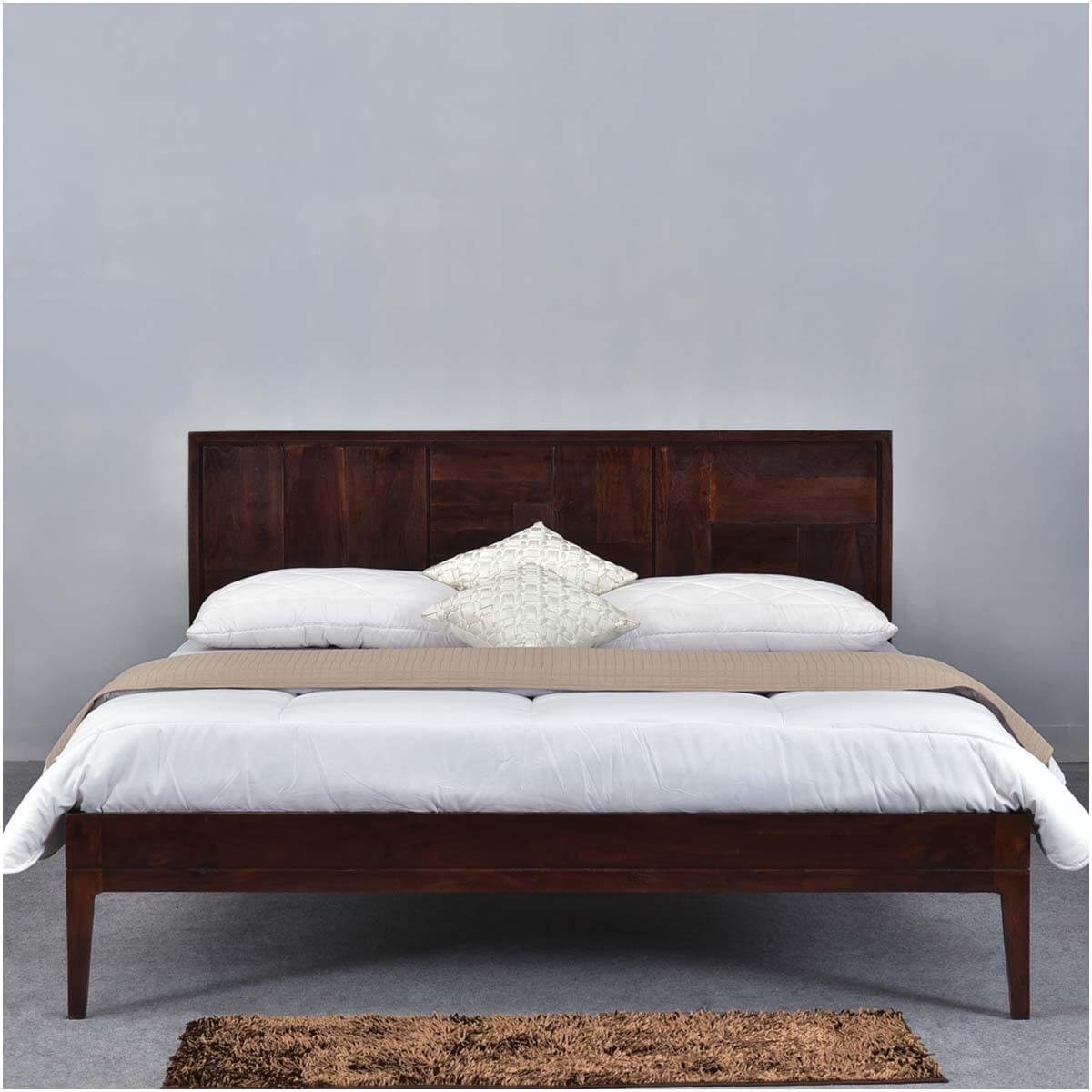 Modern pioneer solid wood platform bed frame w headboard Wood platform bed