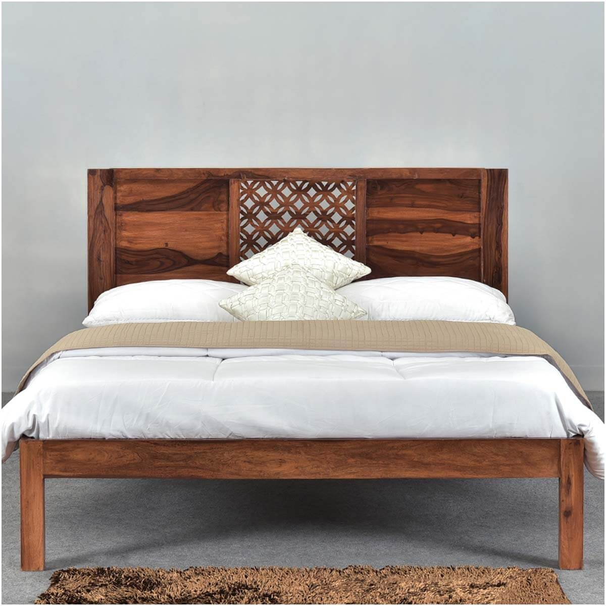 Diamond lattice solid wood rustic platform bed frame w Wood platform bed
