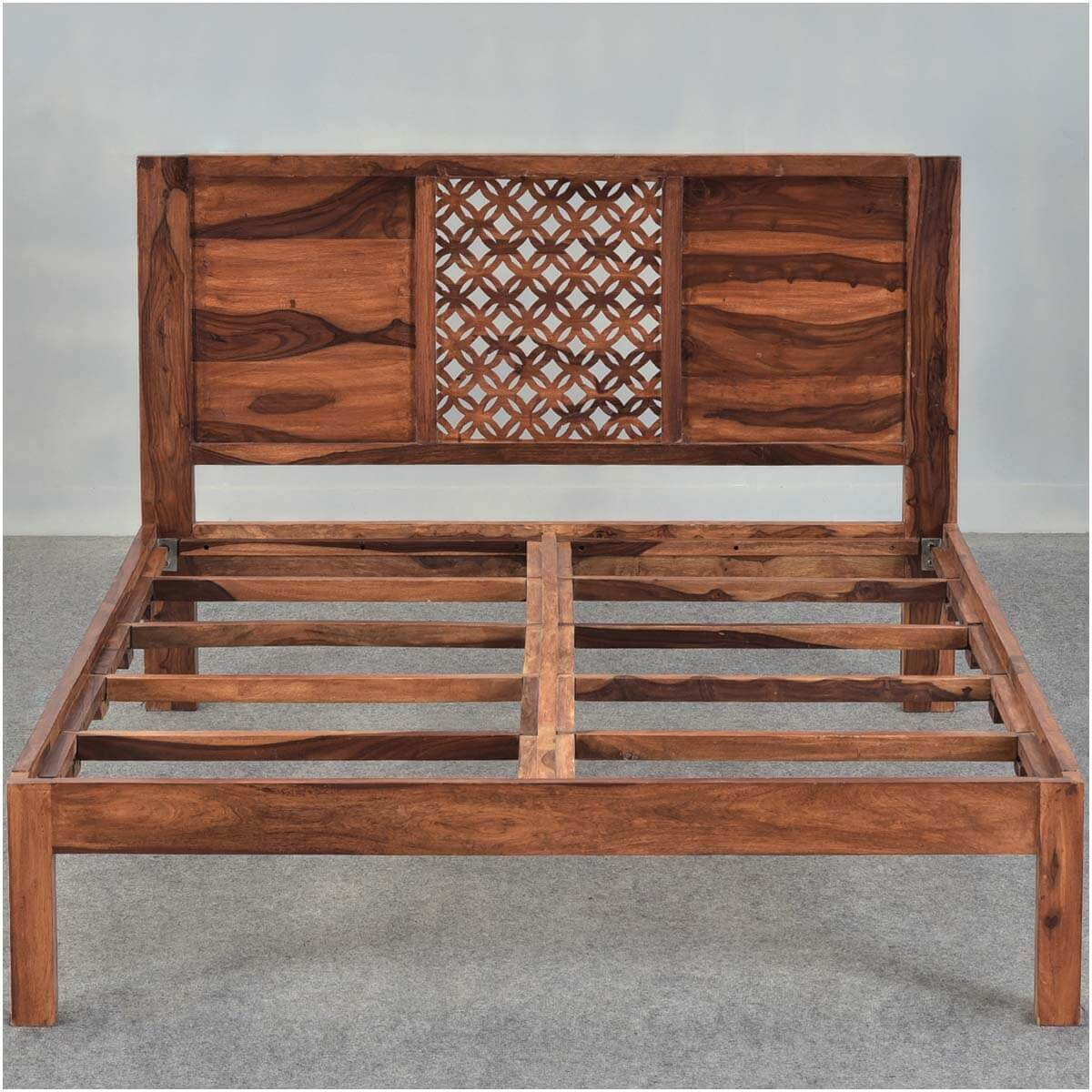 ... Diamond Lattice Solid Wood Rustic Platform Bed Frame w Headboard