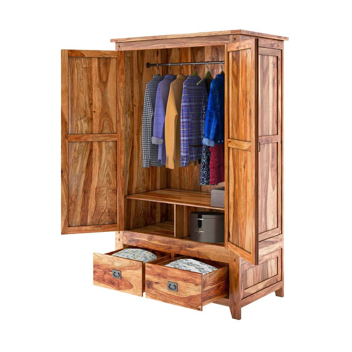 Delaware Solid Hardwood Rustic Bedroom Wardrobe Armoire