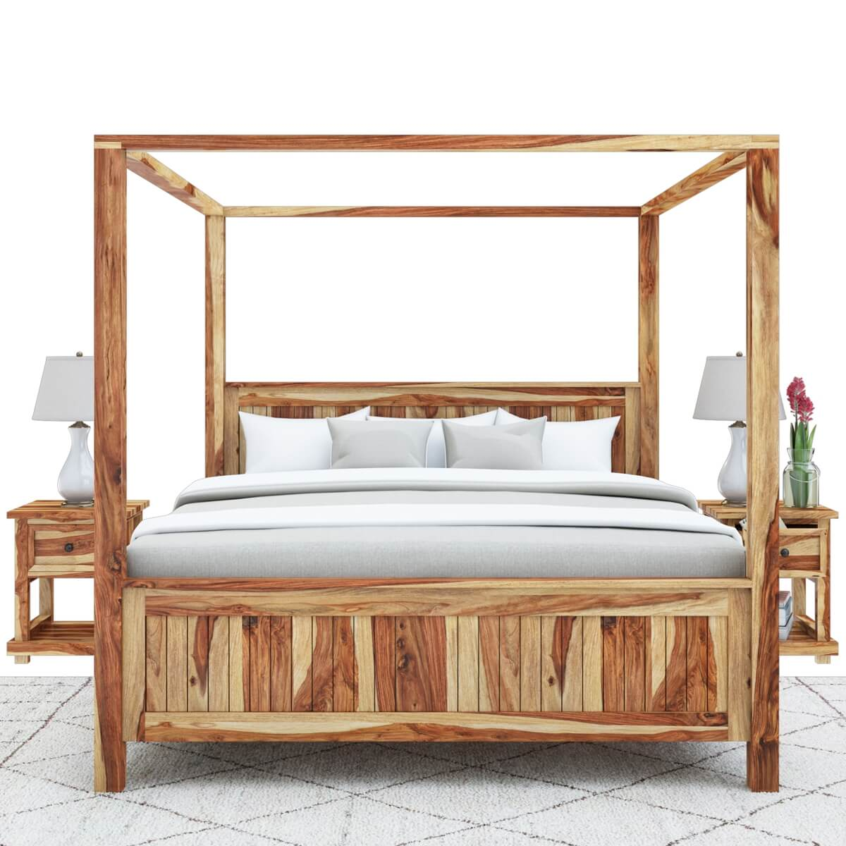 Larvik Rustic Solid Wood Queen Size Platform Canopy Bed