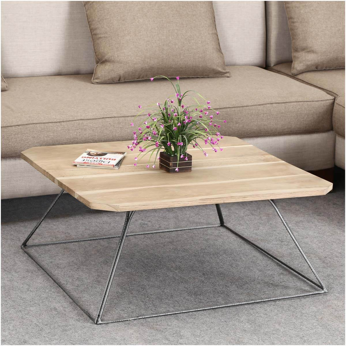Solid Wood And Metal Coffee Table: Trapezoidal Prism Base Solid Wood & Iron Coffee Table