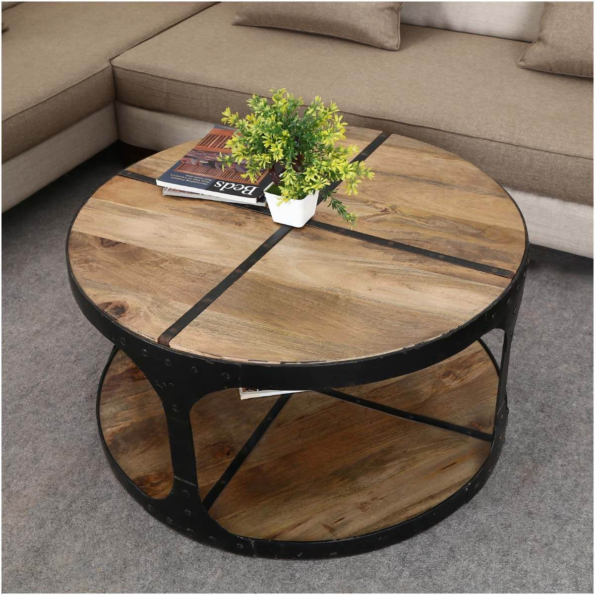 coffee tables industrial 35 round mango wood iron 2 tier accent