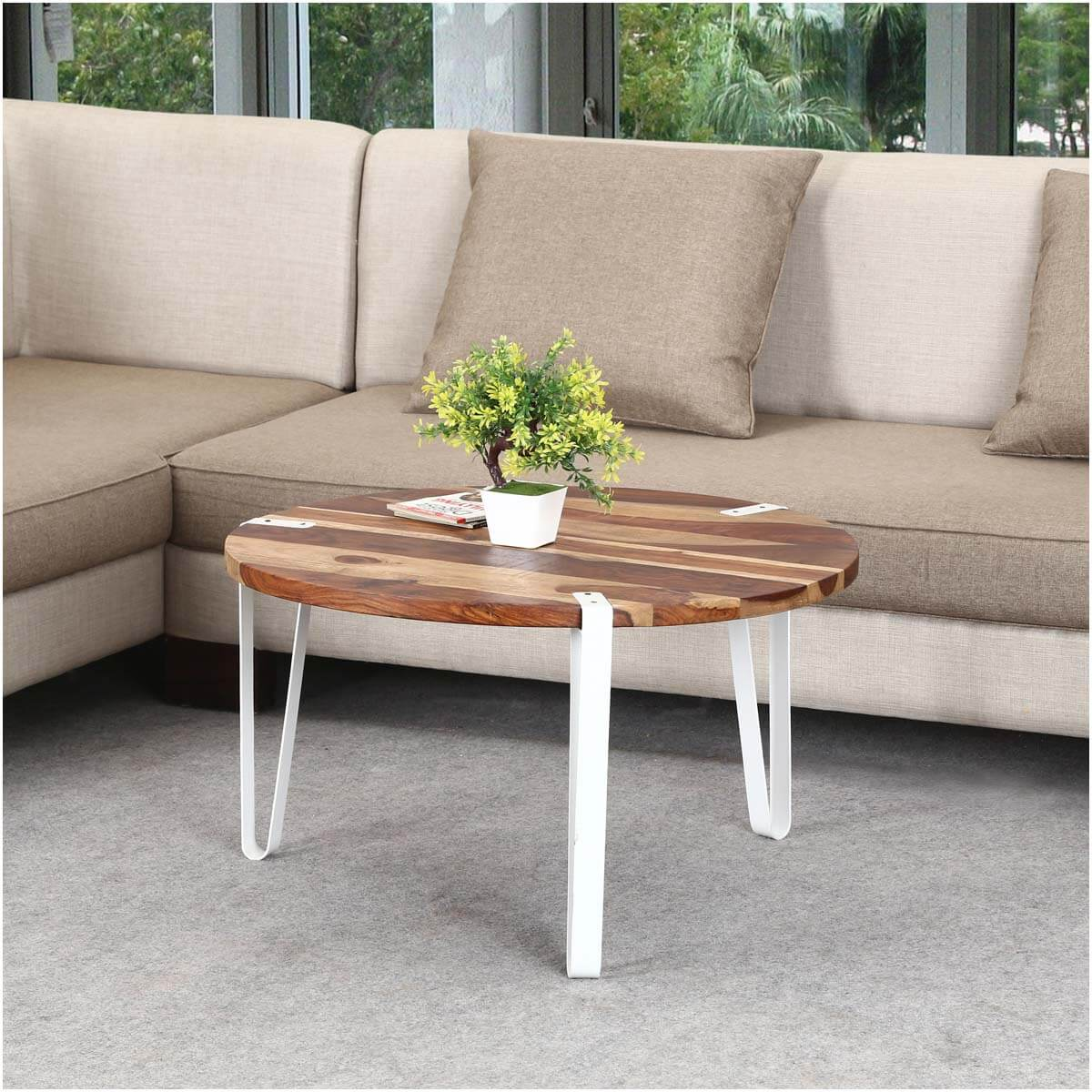 Solid Wood & Iron Round Accent Coffee Table
