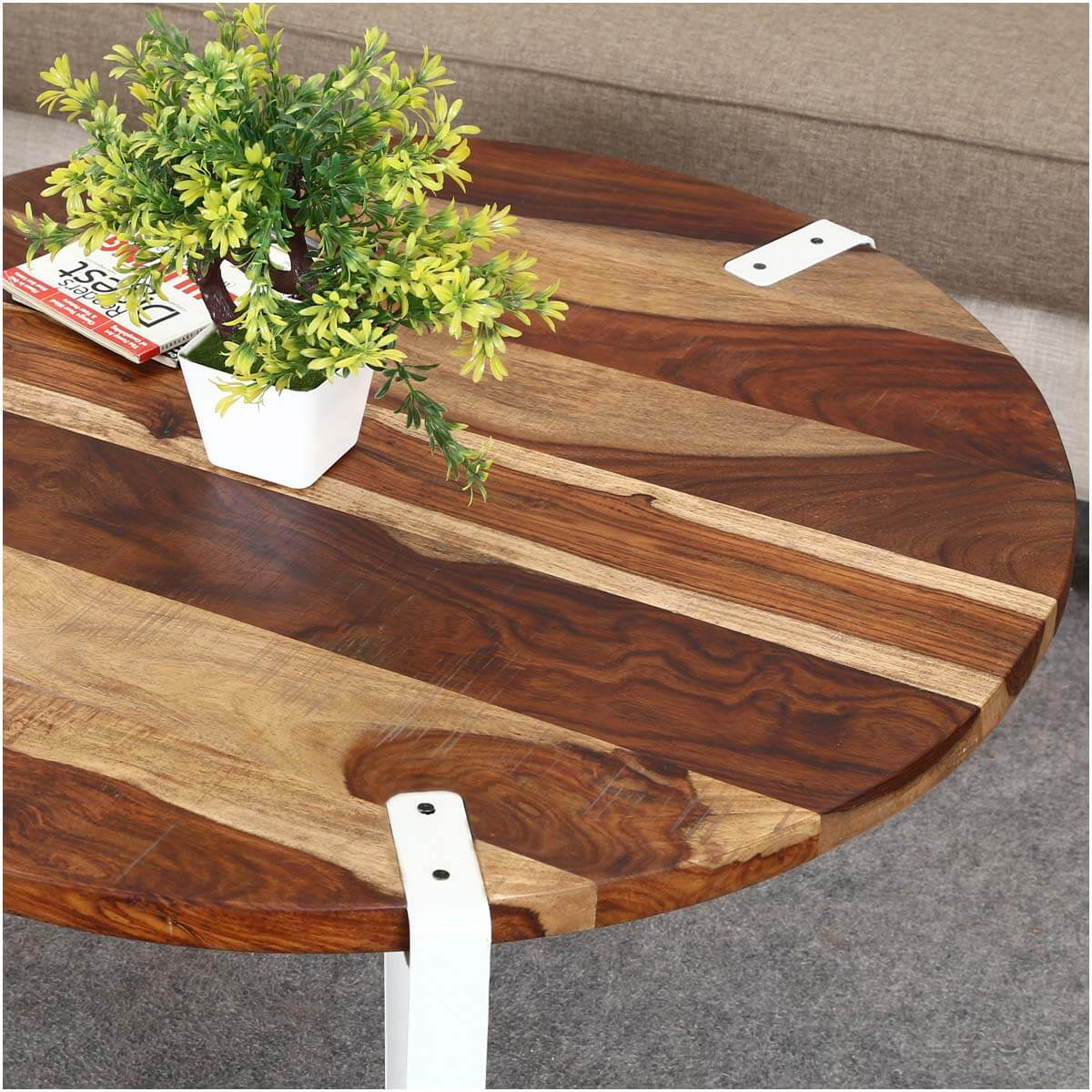 Solid Wood Curved Coffee Table: Solid Wood & Iron Round Accent Coffee Table