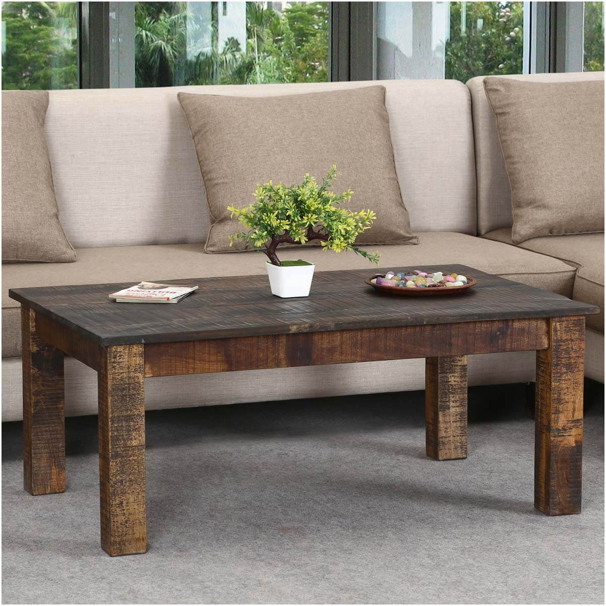 Rustic real mango wood 43 long livingroom coffee table for Long rustic table
