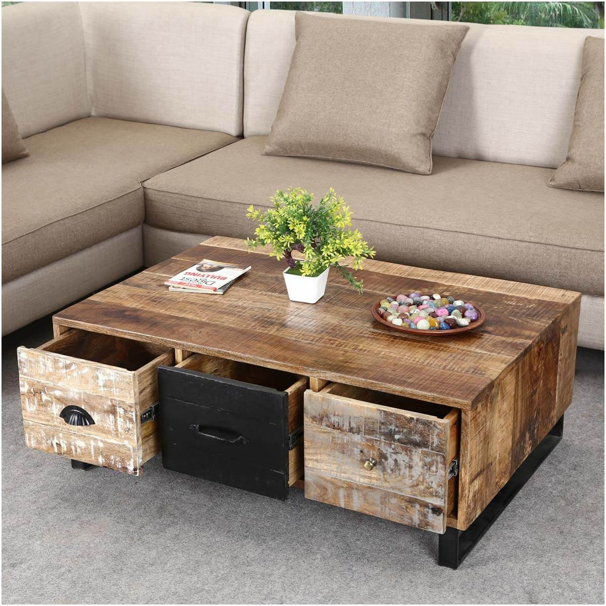 Coffee Table Chest Drawers: Industrial Pioneer Mango Wood & Iron Coffee Table 3-Drawer