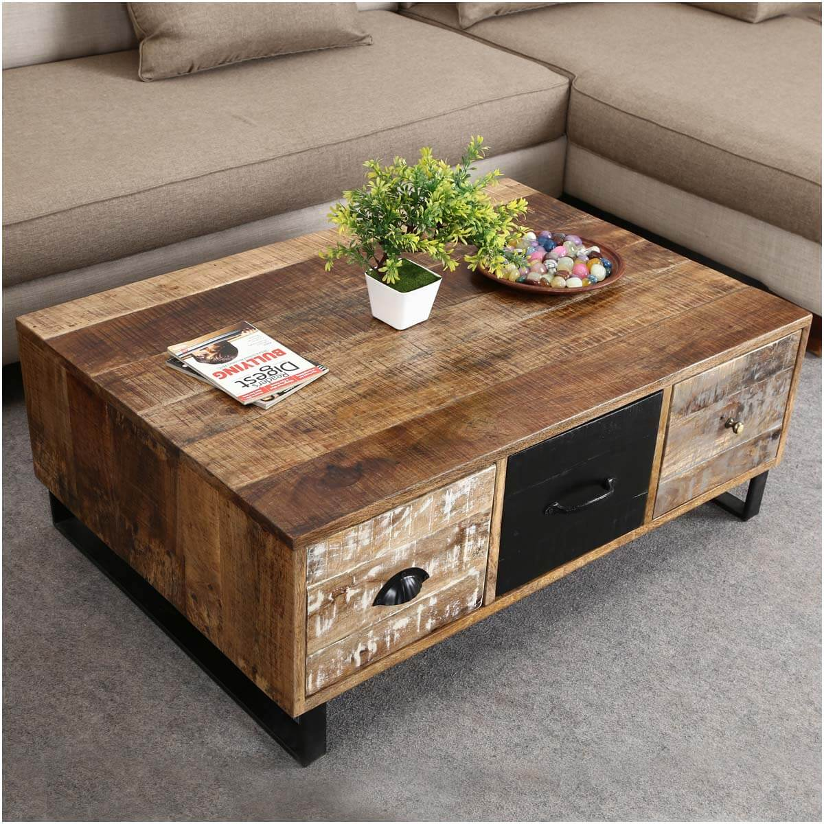 Coffee Table With Drawers: Industrial Pioneer Mango Wood & Iron Coffee Table 3-Drawer